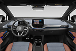 Stock photo of straight dashboard view of 2021 Volkswagen ID.4 First-Edition 5 Door SUV Dashboard