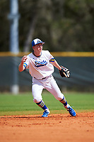 South Dakota State Jackrabbits shortstop Gus Steiger (3) during a game against the FIU Panthers on February 23, 2019 at North Charlotte Regional Park in Port Charlotte, Florida.  South Dakota State defeated FIU 4-3.  (Mike Janes/Four Seam Images)
