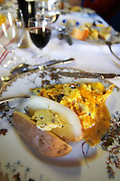 A truffles dish: new boiled potatoes with truffles butter and a creamy omelette made with truffles eggs and fresh truffles Truffiere de la Bergerie (Truffière) truffles farm Ste Foy de Longas Dordogne France