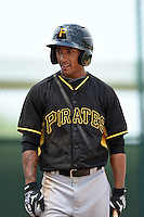 Pittsburgh Pirates Edgar Nunez (90) during a minor league spring training game against the Toronto Blue Jays on March 26, 2015 at Pirate City in Bradenton, Florida.  (Mike Janes/Four Seam Images)