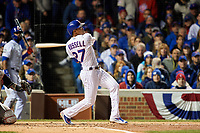 Chicago Cubs Addison Russell (27) bats in the second inning during Game 5 of the Major League Baseball World Series against the Cleveland Indians on October 30, 2016 at Wrigley Field in Chicago, Illinois.  (Mike Janes/Four Seam Images)