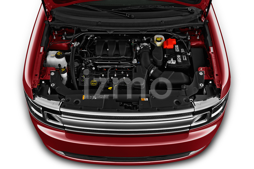 Car stock 2019 Ford Flex Limited 5 Door SUV engine high angle detail view