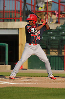 Peoria Chiefs Magneuris Sierra (34) bats during the Midwest League game against the Burlington Bees at Community Field on June 9, 2016 in Burlington, Iowa.  Peoria won 6-4.  (Dennis Hubbard/Four Seam Images)