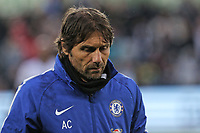 Chelsea manager Antonio Conte walks back to the tunnel after the end of the game during the Premier League game between Swansea City v Chelsea at the Liberty Stadium, Swansea, Wales, UK. Saturday 28 April 2018