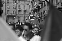 Manifestazione del Movimento Sociale Italiano MSI. Simboli del fascismo