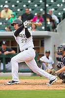Matt Davidson (22) of the Charlotte Knights follows through on his swing against the Pawtucket Red Sox at BB&T Ballpark on August 8, 2014 in Charlotte, North Carolina.  The Red Sox defeated the Knights  11-8.  (Brian Westerholt/Four Seam Images)