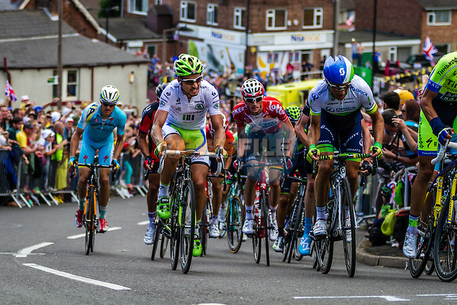 The peleton including Peter Sagan (SVK) Cannondale tackle Cote du Jenkin Road the final brutal climb near the end of Stage 2 of the 2014 Tour de France running 200km from York to Sheffield. 6th July 2014.<br /> Picture:Thomas van Bracht/Peloton Photos/www.newsfile.ie