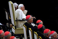 Pope Benedict XVI Welcomes the Cardinals , concert by the Symphonic Orchestra Bayerischer Rundfunk and the Bamberger Symphoniker, at the Paul VI Hall at the Vatican, Saturday, Oct. 27, 2007.