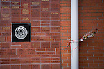 St Mirren 4 The New Saints 1, 19/02/2017. Paisley 2021 Stadium, Scottish Challenge Cup. A fans' memorial brick wall outside the Paisley2021 Stadium, pictured before Scottish Championship side St Mirren played Welsh champions The New Saints in the semi-final of the Scottish Challenge Cup for the right to meet Dundee United in the final. The competition was expanded for the 2016-17 season to include four clubs from Wales and Northern Ireland as well as Scottish Premier under-20 teams. Despite trailing at half-time, St Mirren won the match 4-1 watched by a crowd of 2044, including 75 away fans. Photo by Colin McPherson.