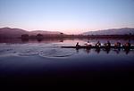 Rowing, US National Men's eight, workout, ARCO Olympic Training Center, Otay Lake, Chula Vista, California, Dusk.
