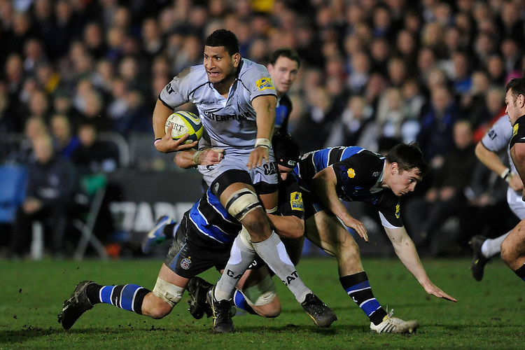 Steve Mafi of Leicester Tigers in action during the LV= Cup semi final match between Bath Rugby and Leicester Tigers at The Recreation Ground, Bath (Photo by Rob Munro, Fotosports International)