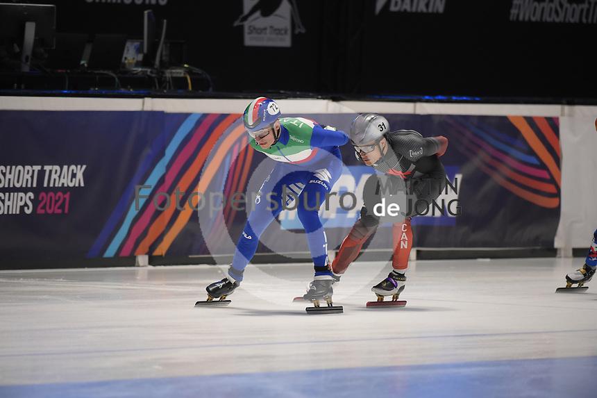 SPEEDSKATING: DORDRECHT: 06-03-2021, ISU World Short Track Speedskating Championships, SF 5000m Men, Luca Spechenhauser (ITA), (CAN), ©photo Martin de Jong