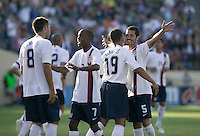 USA's Clint Dempsey, DaMarcus Beasley, Charlie Davies and Benny Feilhaber celebrate Dempsey's goal against China during a 4-1USA victory in San Jose, Calif., June 2, 2007.