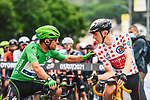 Green Jersey Mark Cavendish (GBR) Deceuinck-Quick Step and Polka Dot Jersey Matej Mohoric (SLO) Bahrain Victorious line up for the start of Stage 8 of the 2021 Tour de France, running 150.8km from Oyonnax to Le Grand-Bornand, France. 3rd July 2021.  <br /> Picture: A.S.O./Charly Lopez | Cyclefile<br /> <br /> All photos usage must carry mandatory copyright credit (© Cyclefile | A.S.O./Charly Lopez)