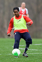 Briana Scurry of the Washington Freedom passes the ball during practice at the Maryland SoccerPlex in Germantown, Maryland.
