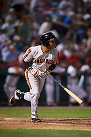 Aberdeen IronBirds first baseman Milton Ramos (9) grounds out during a game against the Tri-City ValleyCats on August 27, 2018 at Joseph L. Bruno Stadium in Troy, New York.  Aberdeen defeated Tri-City 11-5.  (Mike Janes/Four Seam Images)