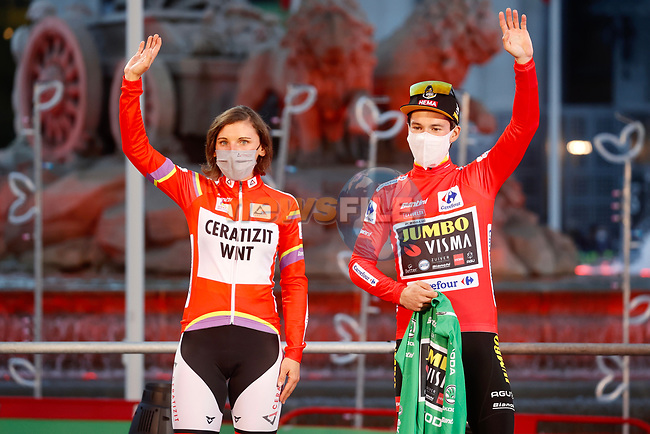 Primoz Roglic (SLO) Team Jumbo-Visma wins the overall general classification Red Jersey, pictured with Lisa Brennauer (GER) CERATIZIT-WNT Pro Cycling Team winner of the CERATIZIT Challenge by La Vuelta 2020, at the end of Stage 18 of the Vuelta Espana 2020, running 139.6km from Hipódromo de La Zarzuela to Madrid, Spain. 8th November 2020. <br /> Picture: Luis Angel Gomez/PhotoSportGomez | Cyclefile<br /> <br /> All photos usage must carry mandatory copyright credit (© Cyclefile | Luis Angel Gomez/PhotoSportGomez)