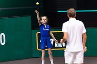 Rotterdam, The Netherlands, 3 march  2021, ABNAMRO World Tennis Tournament, Ahoy, First round match: Daniil Medvedev (RUS) Dusan Lajovic (SRB).<br /> Photo: www.tennisimages.com/henkkoster