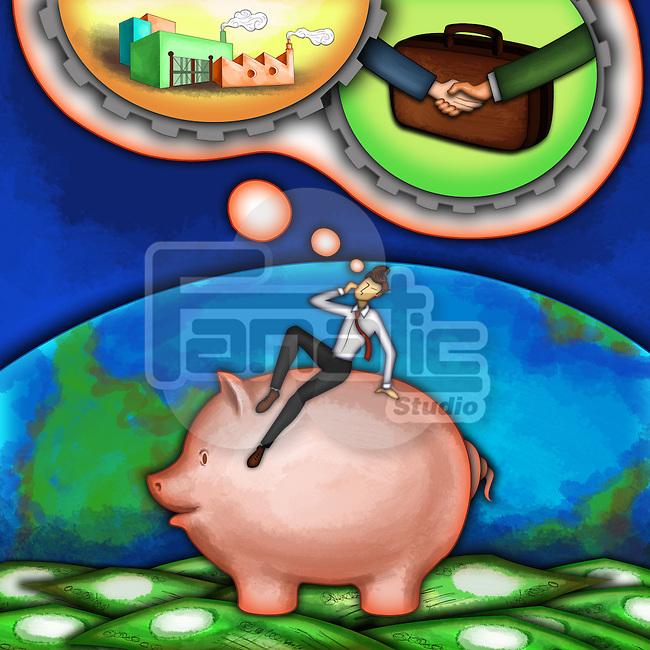 Illustrative image of man day dreaming big goals