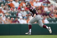 Texas A&M Aggies pinch runner Jace Statum #3 runs to third base during the NCAA baseball game against the Texas Longhorns on April 28, 2012 at UFCU Disch-Falk Field in Austin, Texas. The Aggies beat the Longhorns 12-4. (Andrew Woolley / Four Seam Images).