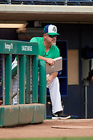 Hartford Yard Goats hitting coach Lee Stevens (65) in the dugout during a game against the Trenton Thunder on August 26, 2018 at Dunkin' Donuts Park in Hartford, Connecticut.  Trenton defeated Hartford 8-3.  (Mike Janes/Four Seam Images)