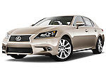 Low aggressive front three quarter view of a 2013 Lexus GS 350.