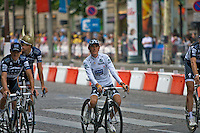 Saxo Bank rider, Andy Schleck rides a final lap of the Champs Elysees in Paris after an exceptional performace at the 2010 Tour de France which saw him achieve two stage victories and the yellow jersey, only to have it taken back by Alberto Contador, due to a mechanical problem on Schlecks bike