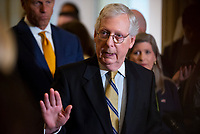 United States Senate Minority Leader Mitch McConnell (Republican of Kentucky) offers remarks following the Republican Senate luncheon at the US Capitol in Washington, DC, Tuesday, July 20, 2021. Credit: Rod Lamkey / CNP /MediaPunch