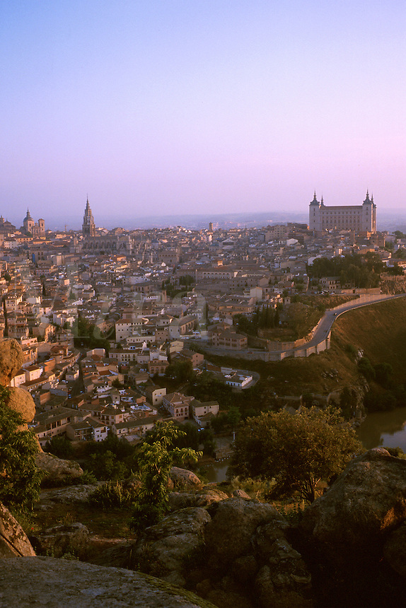 City at dawn seen from hills east of Tajo river. Toledo Castilla-La Mancha Spain.
