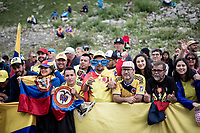 Colombian fans ready to witness teh first Colombian Tour win of Egan Bernal (COL/Ineos)<br /> <br /> shortened stage 20: Albertville to Val Thorens (59km in stead of the original 130km due to landslides/bad weather)<br /> 106th Tour de France 2019 (2.UWT)<br /> <br /> ©kramon