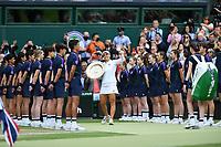 10th July 2021. Wilmbledon, SW London England. Wimbledon Tennis Championships 2021, Ladies singles final Ashleigh Barty versus  Karolina Pliskova (Czech);  Ashleigh Barty (Aus) with her winners trophy