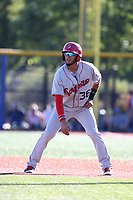 Miguel Aparicio (36) of the Spokane Indians leads off of first base during a game against the Hillsboro Hops at Ron Tonkin Field on July 22, 2017 in Hillsboro, Oregon. Spokane defeated Hillsboro, 11-4. (Larry Goren/Four Seam Images)