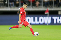 WASHINGTON, D.C. - OCTOBER 11: Christian Pulisic #10 of the United States scores a penalty kick goal during their Nations League game versus Cuba at Audi Field, on October 11, 2019 in Washington D.C.