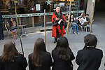 Beating the Bounds, the parish boundaries annually on Ascension Day at All Hallows by the Tower Church, which is the oldest church in the City of London. Children from St Dunstan's College, Catford, beat the bounds out side Pret A Manger. They return to their roots in the parish of St Dunstan-in-the-East to take an active part in the proceedings. Sir Paul Judge<br /> Alderman of Tower Ward in the City of London and Chairman of the Governors of St Dunstan's College
