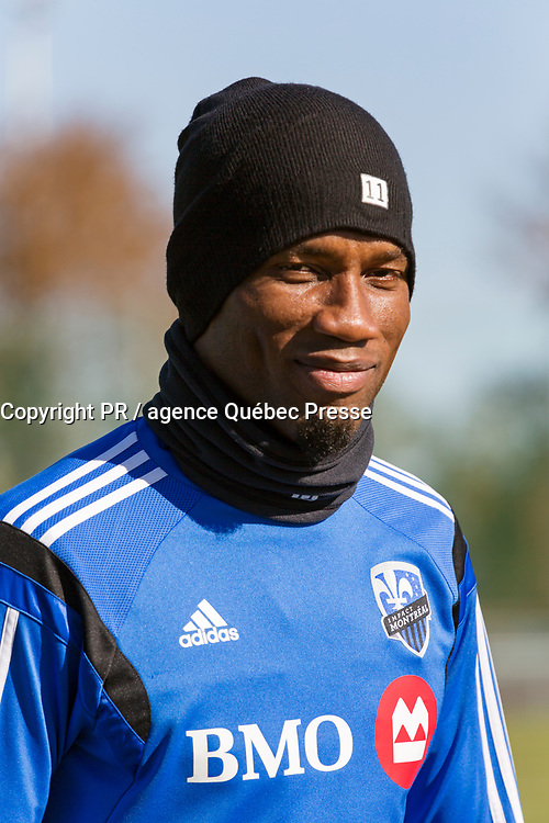 Canada, Québec, Montréal, Didier Drogba joueur de MLS avec l'Impact de Montréal en 2015, durant entraînement fin octobre // Canada, Quebec, Montreal, Didier Drogba MLS player with the Montreal Impact in 2015, end of October during a training<br /> PHOTO :  Agence Quebec presse