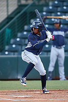 Luis Paez (1), of the AZL Padres 1, at bat during an Arizona League game against the AZL Angels on August 5, 2019 at Tempe Diablo Stadium in Tempe, Arizona. AZL Padres 1 defeated the AZL Angels 5-0. (Zachary Lucy/Four Seam Images)