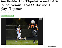 Sun Prairie's Dominick Landphier catches a second quarter pass for a touchdown, as Sun Prairie takes on Verona in Wisconsin WIAA first-round high school football playoffs on Friday, 10/25/19 at Curtis Jones Field in Verona | Wisconsin State Journal article front page C1 and C6 Sports 10/26/19 and online at https://madison.com/wsj/sports/high-school/football/sun-prairie-rides--point-second-half-to-rout-of/article_d9c50217-8644-5a07-91e5-eb4080dbd3f3.html