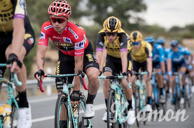 red jersey (overall leader) Primoz Roglic (SVK/Jumbo-Visma)<br /> <br /> Stage 19: Ávila to Toledo (165km)<br /> La Vuelta 2019<br /> <br /> ©kramon