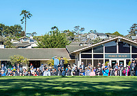 9th February 2020, Pebble Beach, Carmel, California, USA; The fan gallery at the 1st hole tee waiting for the final group to tee off for the championship round of the AT&T Pro-Am on Sunday