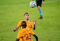 CARSON, CA - OCTOBER 28: Darwin Ceren #24 of the Houston Dynamo heads a ball during a game between Houston Dynamo and Los Angeles FC at Banc of California Stadium on October 28, 2020 in Carson, California.