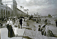 19th Century historical photo depicting leisurely strolls along a boardwalk dressed in finest outfits and fancy umbrellas. Even children wore hats.