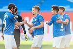 20.02.2021, xtgx, Fussball 3. Liga, FC Hansa Rostock - SV Waldhof Mannheim, v.l. Damian Rossbach (Hansa Rostock, 4), Bentley Baxter Bahn (Hansa Rostock, 8), Damian Rossbach (Hansa Rostock, 4), Oliver Daedlow (Hansa Rostock, 25) Jubel ueber den Sieg, Jubel nach Spielende <br /> <br /> (DFL/DFB REGULATIONS PROHIBIT ANY USE OF PHOTOGRAPHS as IMAGE SEQUENCES and/or QUASI-VIDEO)<br /> <br /> Foto © PIX-Sportfotos *** Foto ist honorarpflichtig! *** Auf Anfrage in hoeherer Qualitaet/Aufloesung. Belegexemplar erbeten. Veroeffentlichung ausschliesslich fuer journalistisch-publizistische Zwecke. For editorial use only.