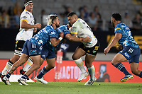3rd April 2021; Eden Park, Auckland, New Zealand;  Hurricanes 2nd-five Ngani Laumape during the Super Rugby Aotearoa rugby match between the Blues and the Hurricanes held at Eden Park, Auckland, New Zealand.