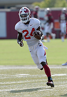 Arkansas running Back A'Montae Spivey carries the ball Tuesday, Sept. 8, 2020, during practice at the university football practice fields in Fayetteville. Visit nwaonline.com/200909Daily/ for today's photo gallery.<br /> (NWA Democrat-Gazette/Andy Shupe)