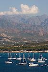 Calvi yacht harbor; Calvi, mountains, Northwest coast of Corsica, France, Mediterranean Coast, Coastal towns in Corsica,
