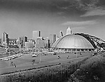 Pittsburgh PA: Pittsburgh's new Civic Arena Construction.  On location photography for the Civic Light Opera,  the building's primary tenant. Pittsburgh Mayor Joseph M. Barr and Hornets owner John Harris (founder of the Ice Capades) made the skating show the feature act of the Civic Arena's grand opening on September 19, 1961.