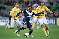 MELBOURNE, AUSTRALIA - NOVEMBER 18: Carlos Hernandez of the Victory controls the ball during the round 14 A-League match between the Melbourne Victory and Central Coast Mariners at AAMI Park on November 18, 2010 in Melbourne, Australia (Photo by Sydney Low / Asterisk Images)