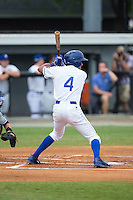 Nicky Lopez (4) of the Burlington Royals at bat against the Bluefield Blue Jays at Burlington Athletic Stadium on June 27, 2016 in Burlington, North Carolina.  The Royals defeated the Blue Jays 9-4.  (Brian Westerholt/Four Seam Images)