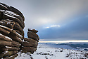 The Wheel Stones (also known as the Coach and Horses) on Derwent Edge in winter conditions, Peak District National Park, Derbyshire, UK. January.