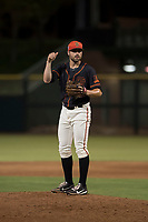 AZL Giants Black relief pitcher Garrett Christman (84) during an Arizona League game against the AZL Royals at Scottsdale Stadium on August 7, 2018 in Scottsdale, Arizona. The AZL Giants Black defeated the AZL Royals by a score of 2-1. (Zachary Lucy/Four Seam Images)